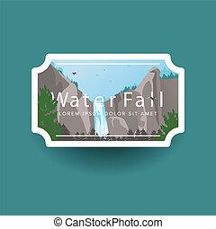 montanha, estilo, natural, paisagem., emblema, companhia, idéias, cascata, cachoeira, floresta verde, selvagem, logo., ou