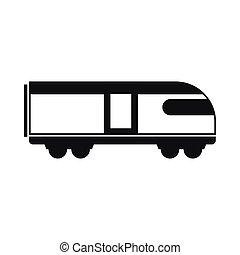 montanha, estilo, simples, ícone, trem, suíço