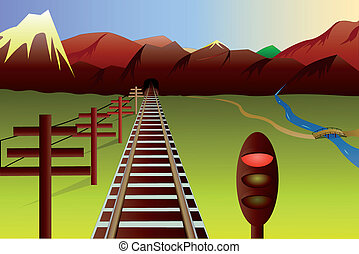 montanha, estrada ferro, paisagem