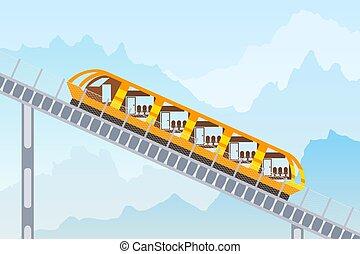 montanha, experiência., imagem a cores, ilustração, funicular, vetorial, estrada ferro