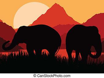 montanha, família, natureza, áfrica, vetorial, elefante, selvagem