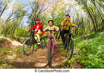 montanha, família, rastro, floresta, biking, feliz
