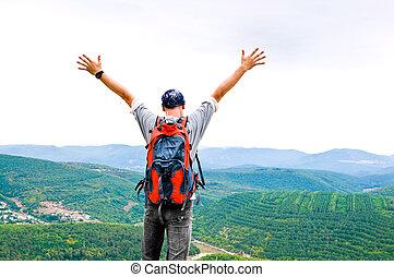 montanha, feliz, homem