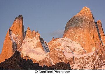 montanha, fitz, vermelho, amanhecer, roy