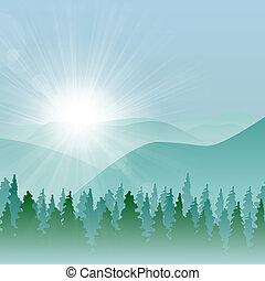 montanha, floresta, fundo