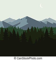 montanha, floresta, paisagem