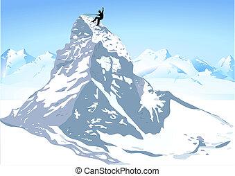 montanha, forte, escalando