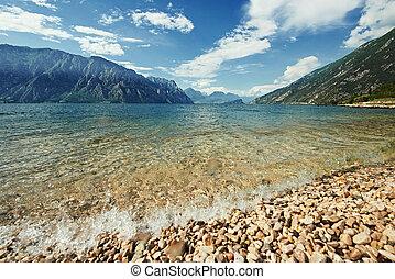 montanha, garda, lago
