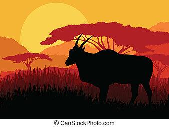 montanha, gazela, áfrica, ilustração, fundo, selvagem,...