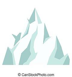 montanha, gelo, ícone
