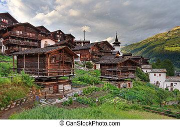 montanha, grimentz, vila