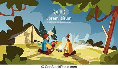 montanha, grupo, turista, acampamento, sentar, fogo, expedição, floresta, barraca