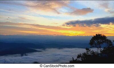 montanha, heigh, timelapse, amanhecer
