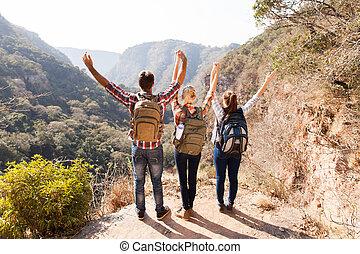 montanha, hikers, grupo, topo