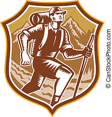 montanha, hiking, escudo, woodcut, hiker, retro