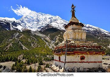 montanha, himalaias, budista, stupa, vista, capela