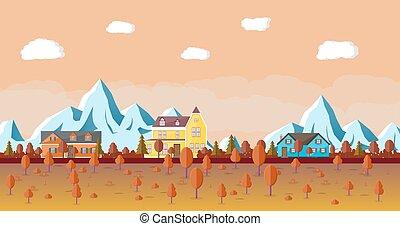 montanha, house., paisagem