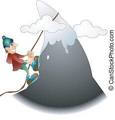 montanha, ilustração, escalador