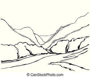 montanha, ilustração, mão, vetorial, desenhado, paisagem