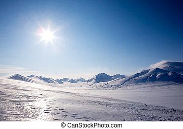 montanha, inverno, neve