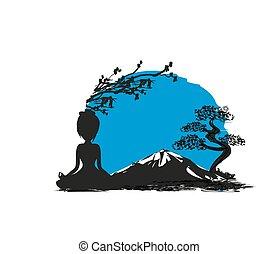 montanha, ioga