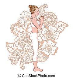 montanha, ioga, pose., silhouette., tadasana, mulheres