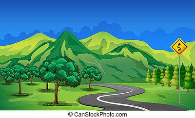montanha, ir, curva, estrada