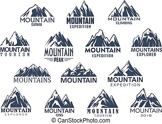 montanha, jogo, ícones, vetorial, desporto, turismo