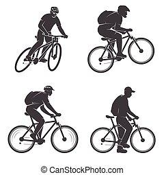 montanha, jogo, bikings., mens