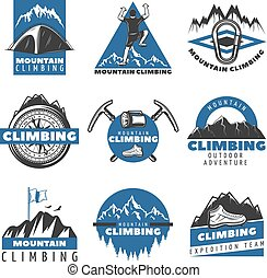 montanha, jogo, colorido, vindima, etiquetas, escalando