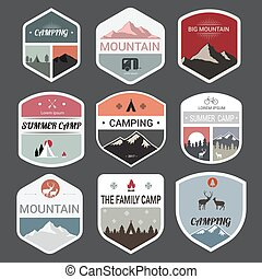 montanha, jogo, expedição, aventura, logotipo, emblemas