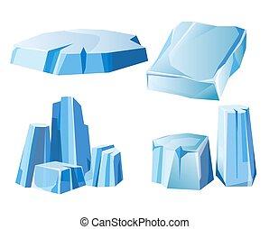 montanha, jogo, iceberg, ícones, congelado, neve, gelo, rocha, gelado, vetorial, ou