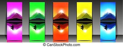 montanha, jogo, paisagem