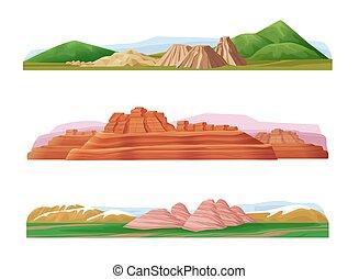 montanha, jogo, paisagens, caricatura, coloridos
