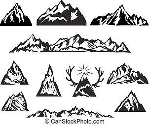 montanha, jogo, simples, vetorial, pretas, branca