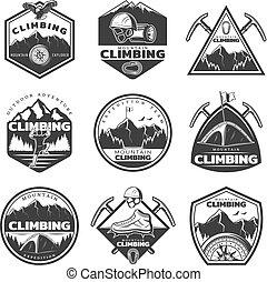 montanha, jogo, vindima, etiquetas, escalando, monocromático