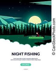 montanha, lake., pôr do sol, pesca, noturna, fishing., montanhas.