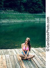 montanha, lake., posar, retro, denominado, menina
