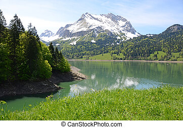 montanha, lake., suíça