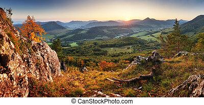 montanha, landcape, panorama, outono, pôr do sol, floresta