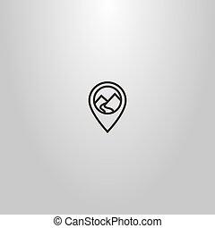 montanha, linha arte, mapa, sinal, paisagem, vetorial, simples, marca