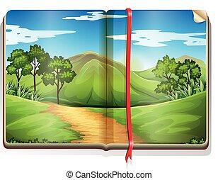 montanha, livro, cena, floresta