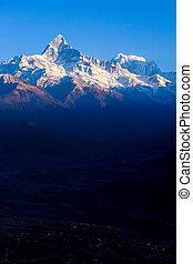 montanha, luz, topo, fishtail, neve, machapuchare, alvorada
