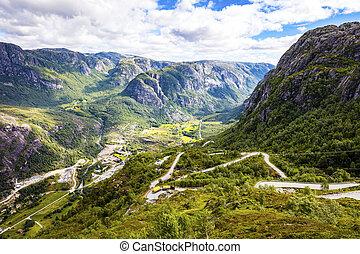 montanha, lysebotn, baixo, dramático, lysefjorden, estrada