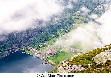 montanha, lysefjord, lysebotn, vista