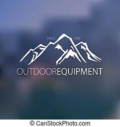 montanha, mão, desenhado, logotipo