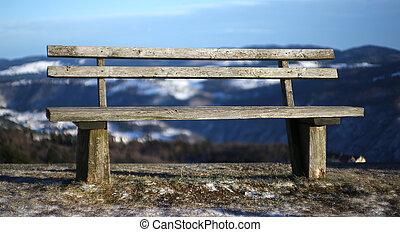 montanha, madeira, isolado, banco, alto, paisagem