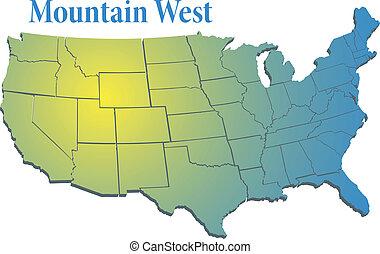 montanha, mapa, oeste, região, nós, estados