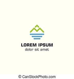 montanha, mar, logotipo, modelo