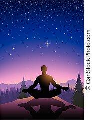 montanha, meditar, ilustração, homem